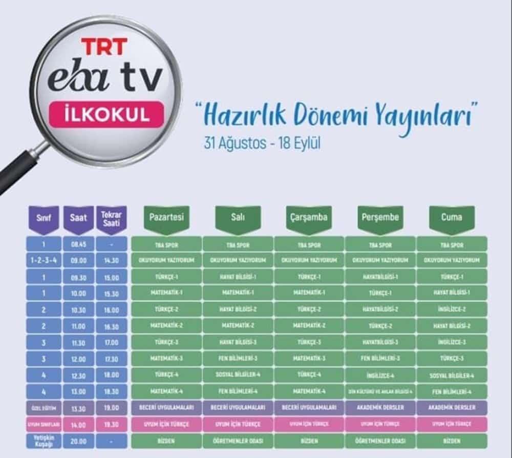 EBA TV CANLI DERS DERS PROGRAMI  İLKOKUL