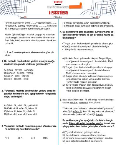 LGS Türkçe Testleri - 8. Sınıf Türkçe Testleri - LGS Yeni Nesil Türkçe Test